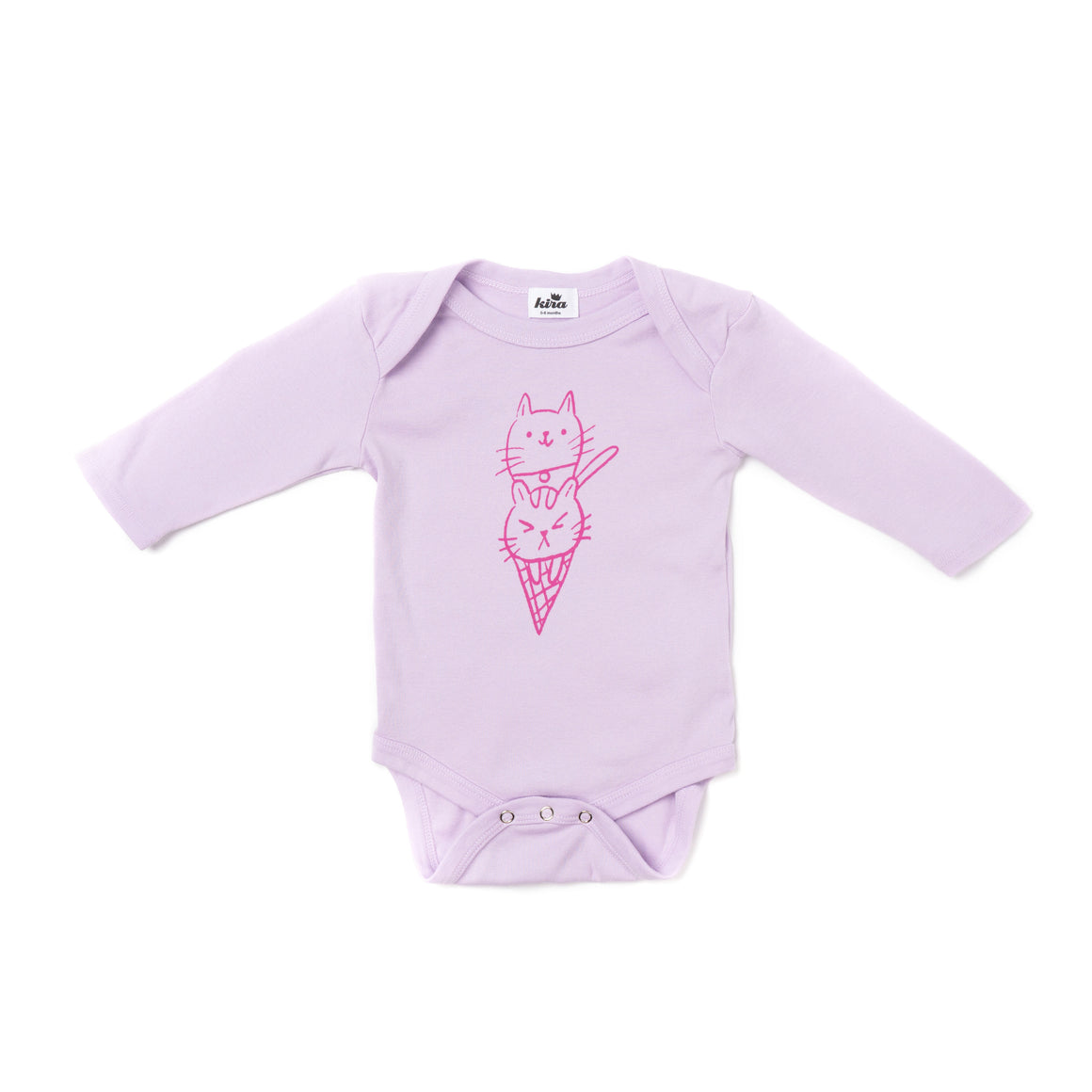 Cat Cone Graphic Onesie, Long Sleeve, Pastel Violet