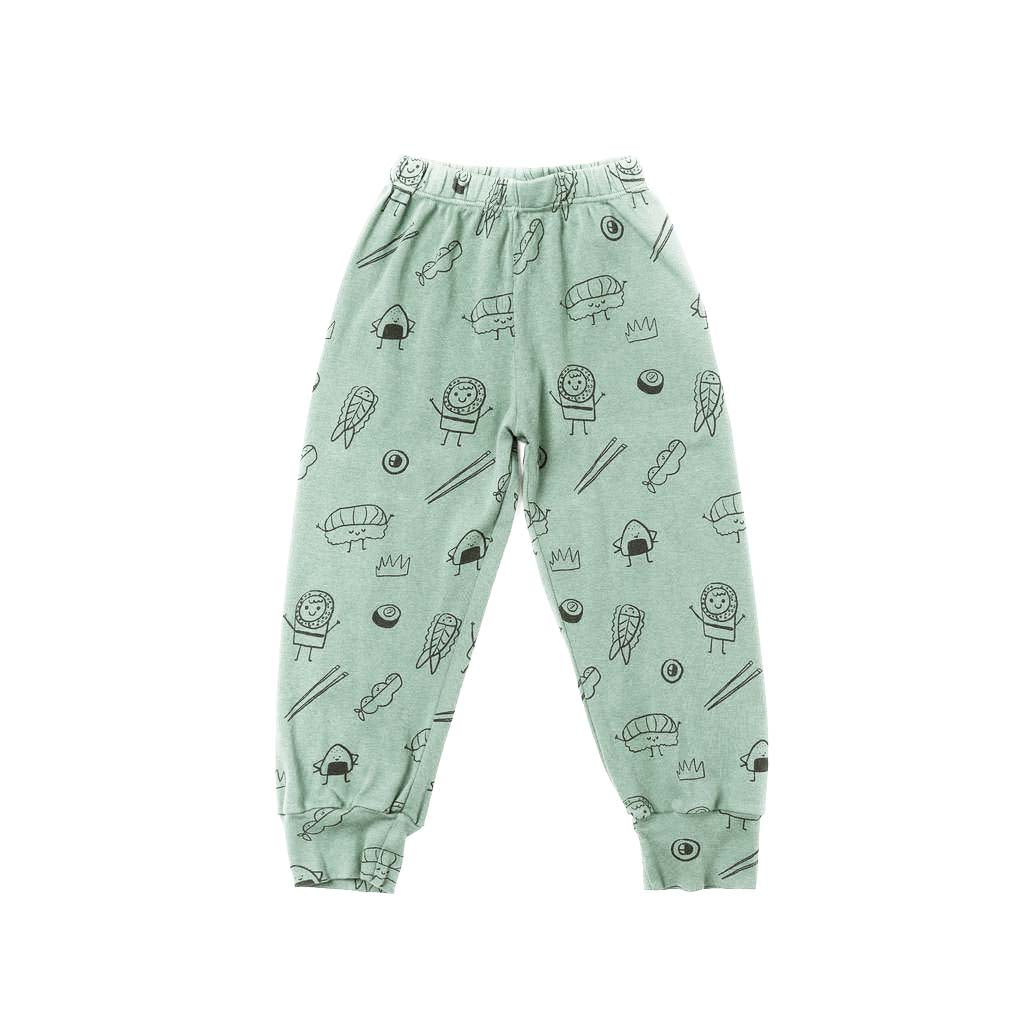 Sushi Print Bubble Pants, Celadon