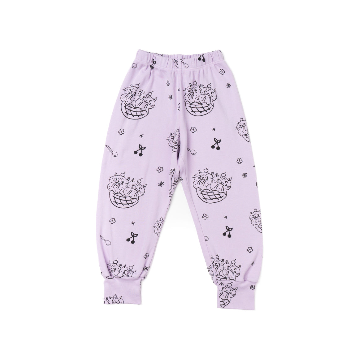 Cat Sundae Print Bubble Pants, Pastel Violet