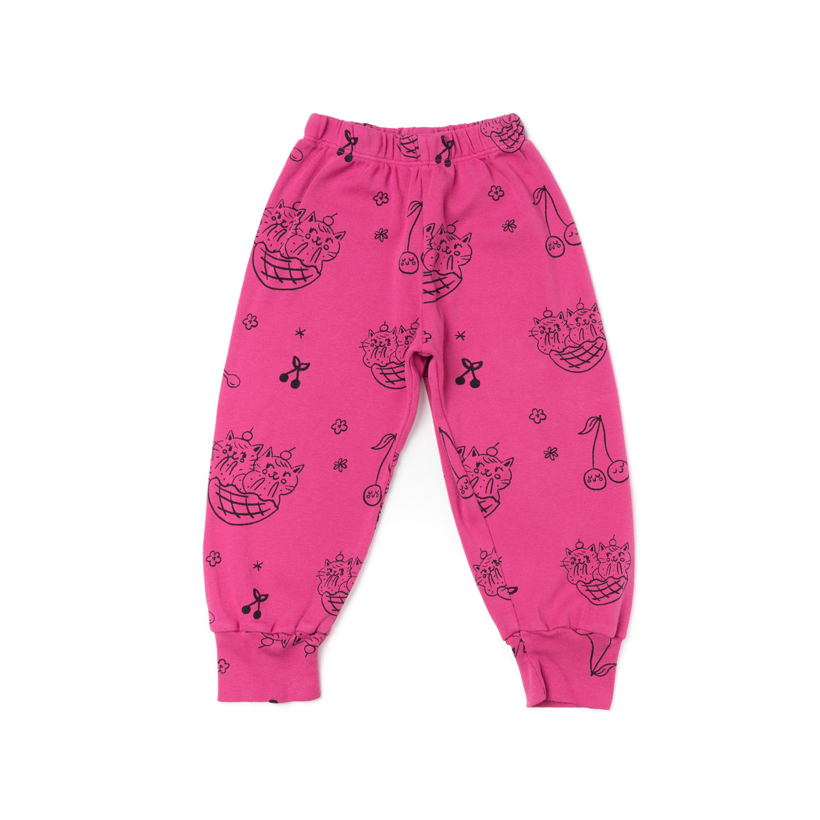 Cat Sundae Print Bubble Pants, Rose Pink