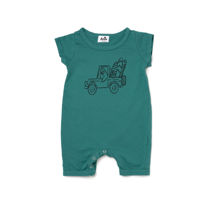 Shark Jeep Graphic Shorts Romper, Dark Turquoise