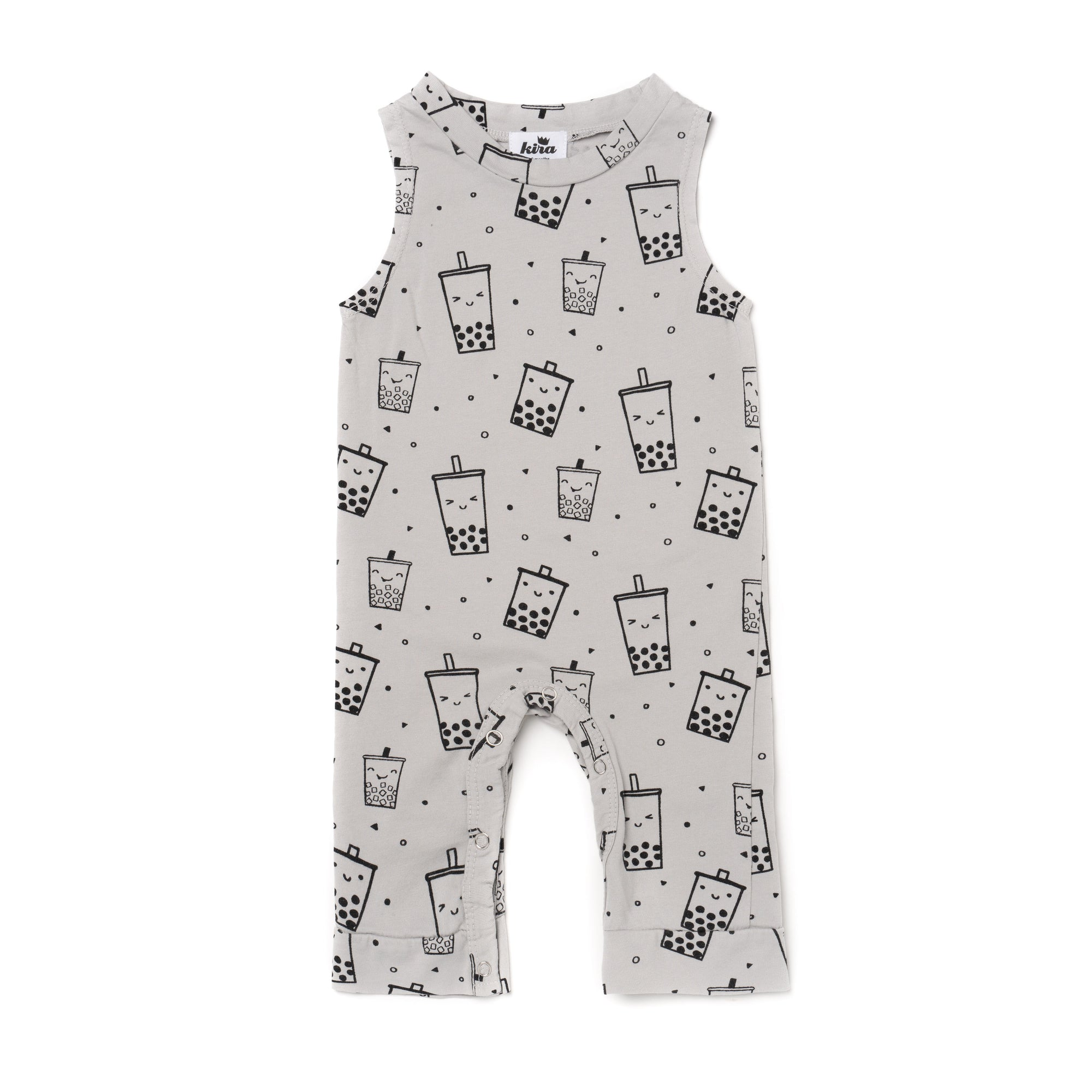 Boba Print Tank Jumpsuit, Light Grey