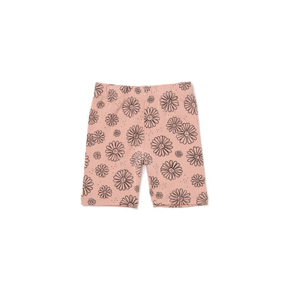 Daisies Print Bike Shorts, Blush