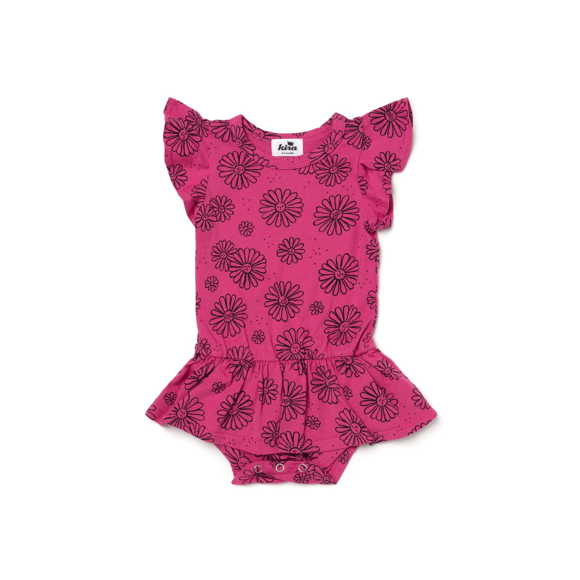 Daisies Print Dress Onesie, Rose Pink