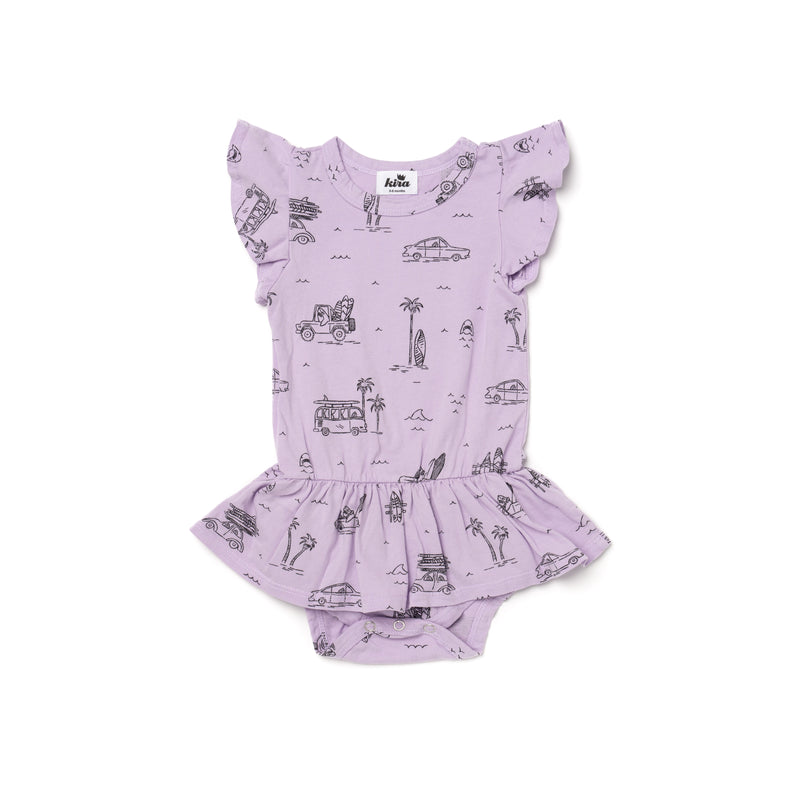 Surf Print Dress Onesie, Pastel Violet