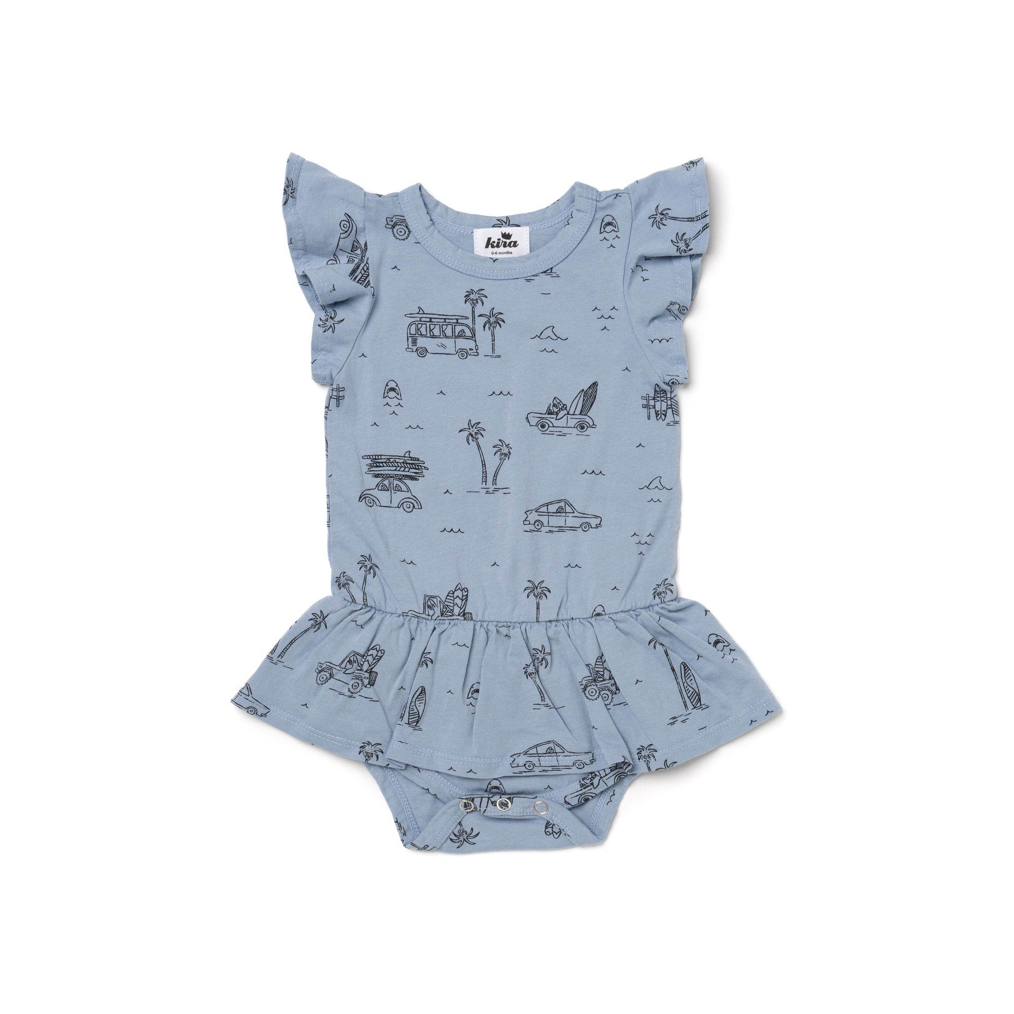 Surf Shark Print Dress Onesie, Stone Blue
