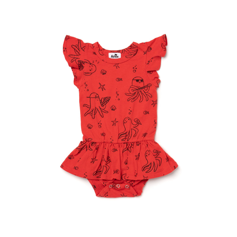 Octopus Print Dress Onesie, Fluro Coral