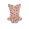 Daisies Print Dress Onesie, Blush