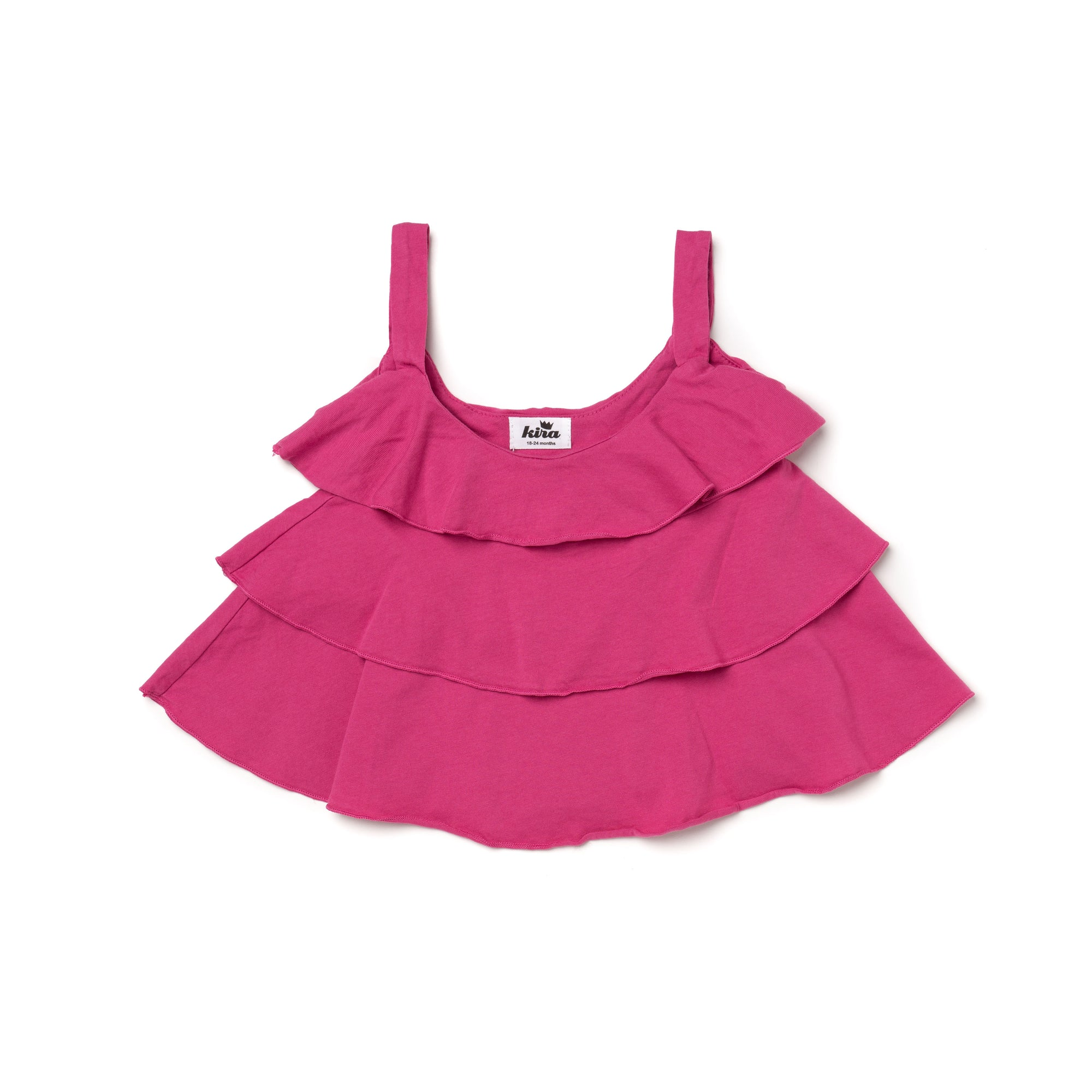 Cotton Gauze Ruffle Swing Tank, Rose Pink