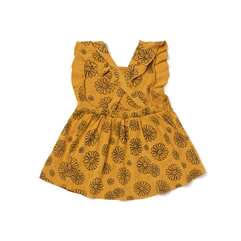 Daisies Print Pinafore, Golden