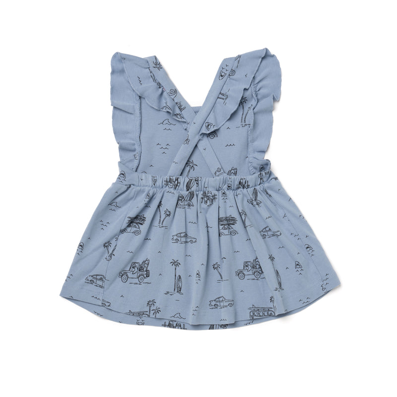 Surf Shark Print Pinafore, Stone Blue