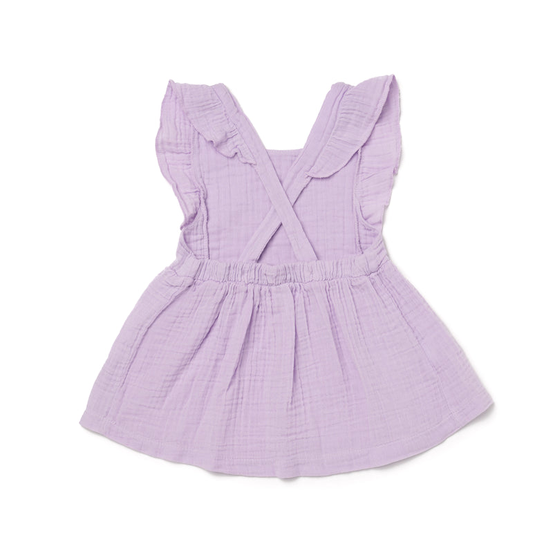 Cotton Gauze Pinafore, Pastel Violet