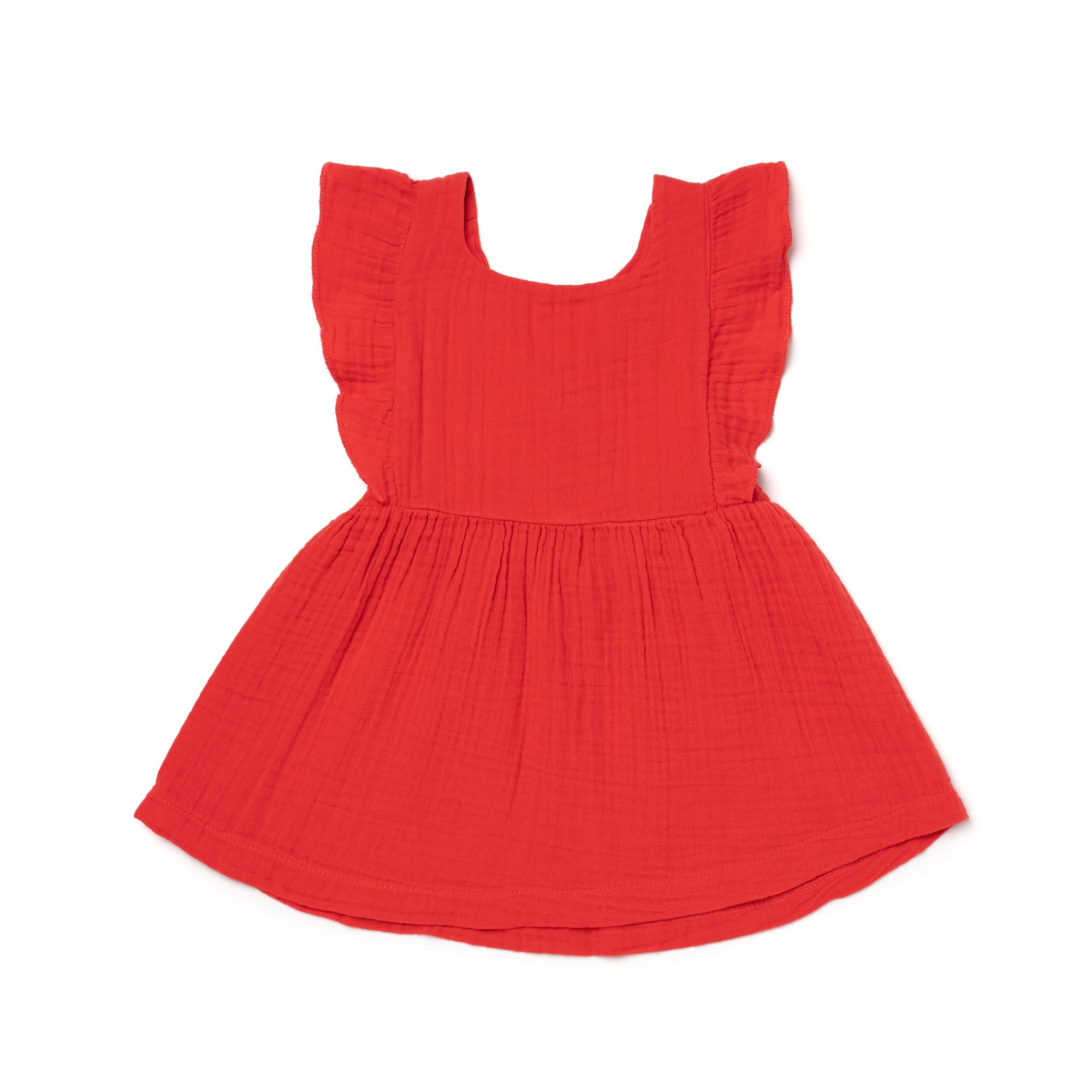 Cotton Gauze Pinafore, Fluro Coral