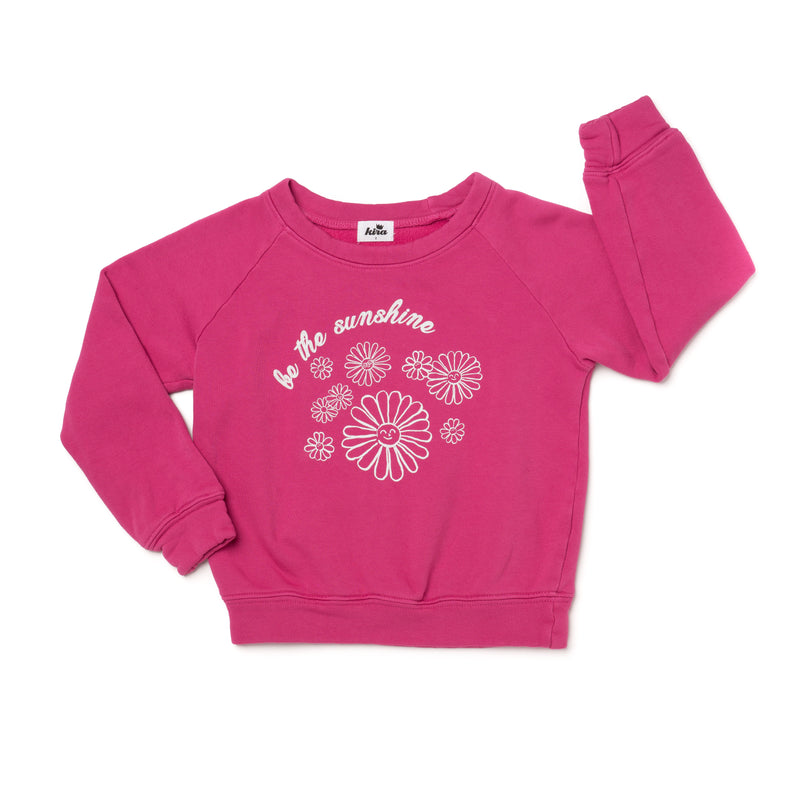 Sunshine Graphic Raglan Sweatshirt, Rose Pink