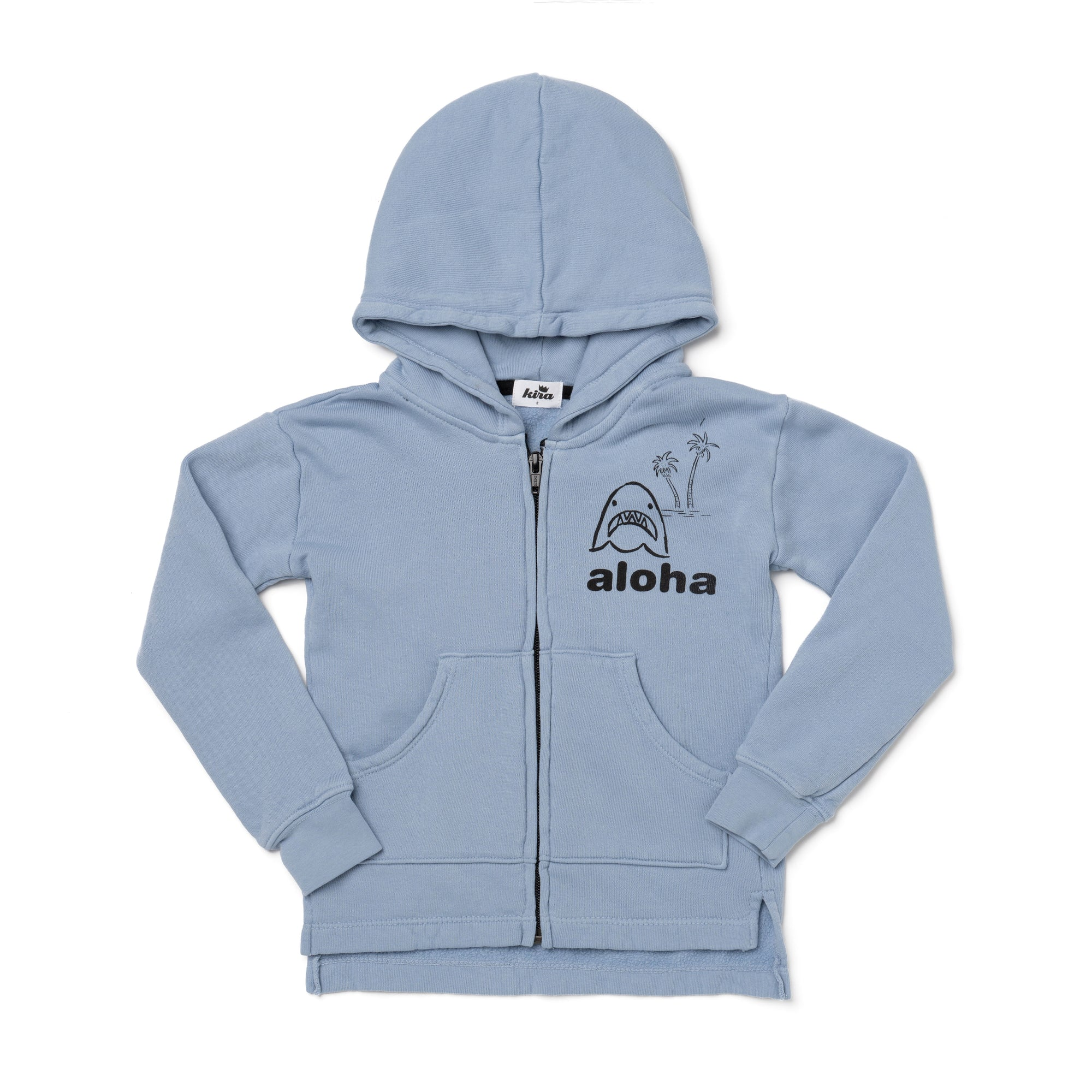 Aloha Jaws Graphic Zip Hooded Sweatshirt, Stone Blue