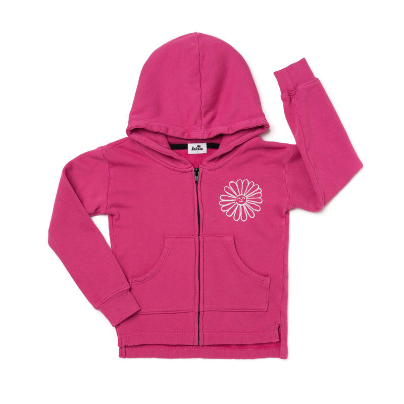 Daisy Graphic Zip Hooded Sweatshirt, Rose Pink