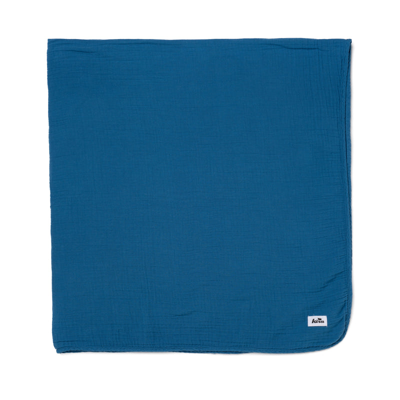"Cotton Gauze Swaddle Blanket 47"" x 47"", Steel Blue"