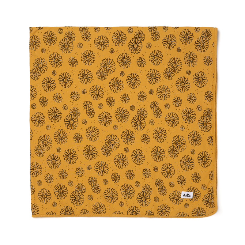 "Daisies Print Swaddle Blanket 47"" x 47"", Golden"