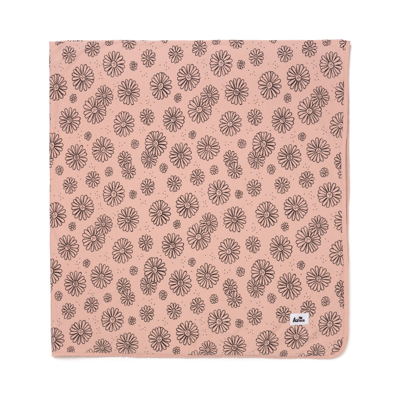 "Daisies Print Swaddle Blanket 47"" x 47"", Blush"