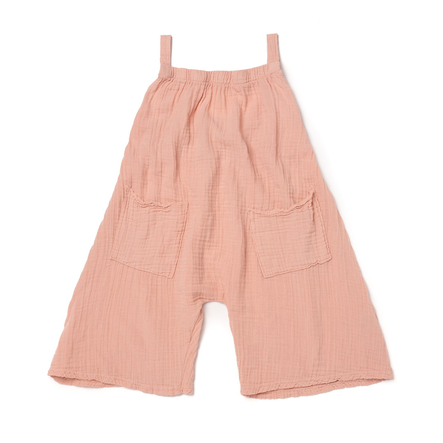 Cotton Gauze Wide Leg Tank Romper, Blush