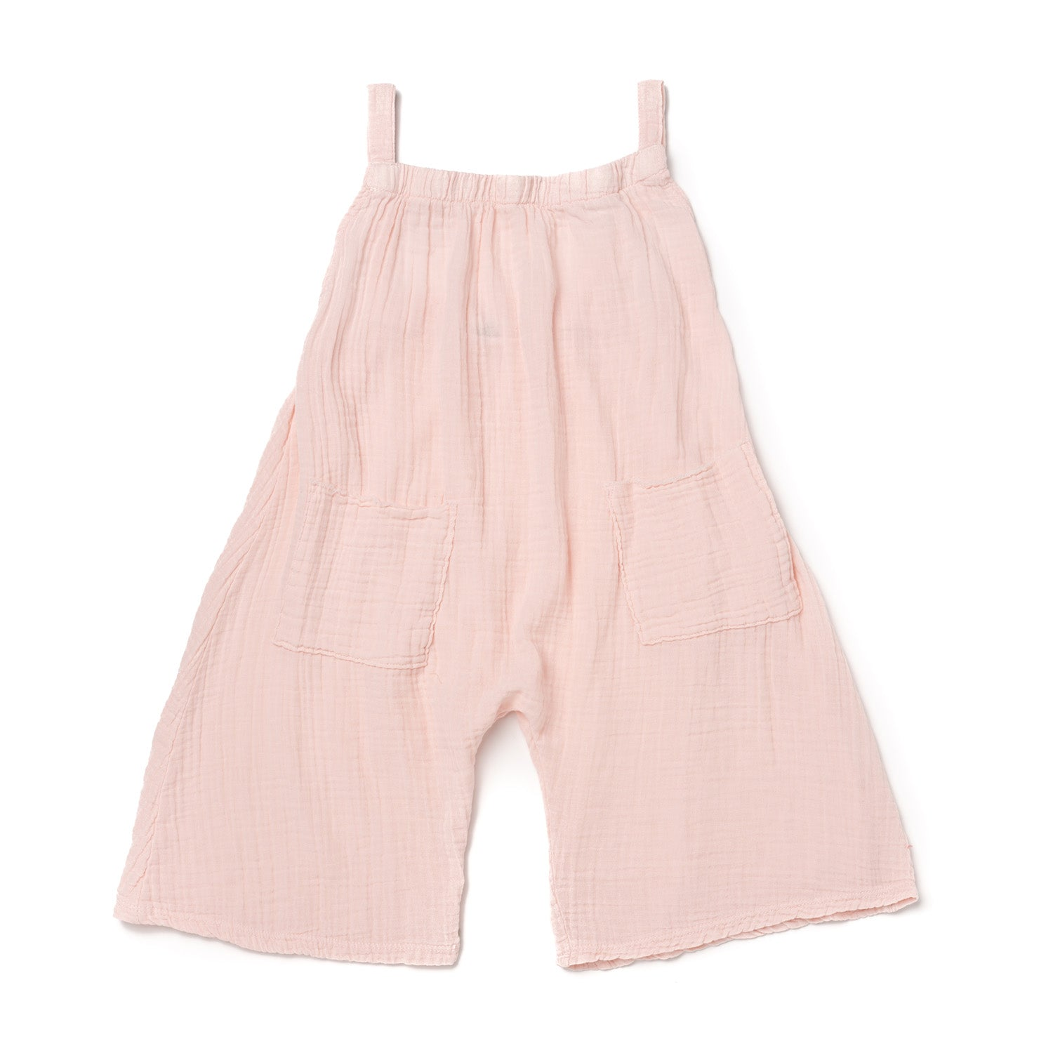 Cotton Gauze Wide Leg Tank Romper, Powder Pink