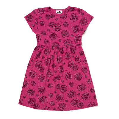 Daisies Print Baby Doll Dress, Rose Pink
