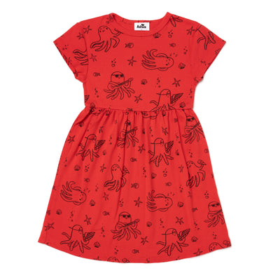 Octopus Print Baby Doll Dress, Fluro Coral