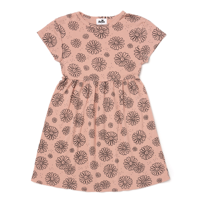 Daisies Print Baby Doll Dress, Blush