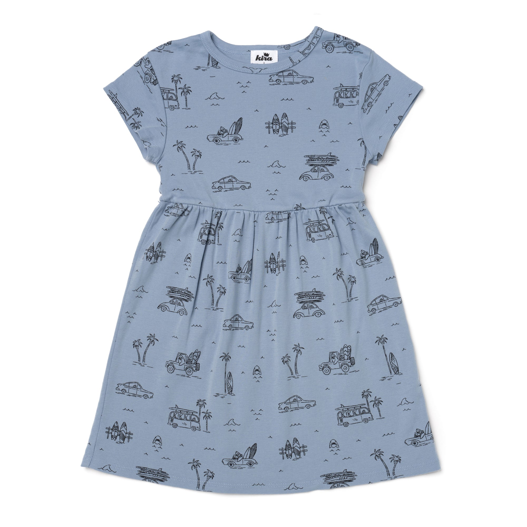Surf Shark Print Baby Doll Dress, Stone Blue