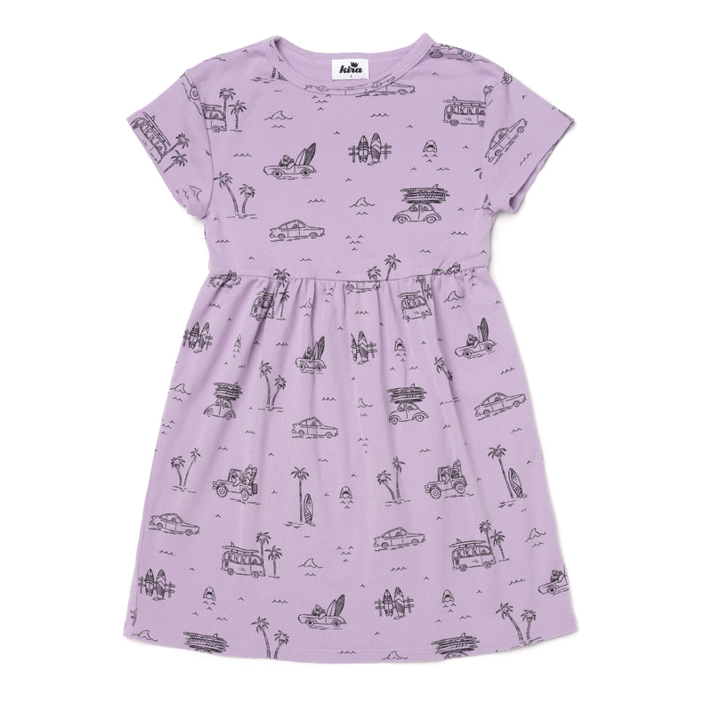 Surf Shark Print Baby Doll Dress, Pastel Violet