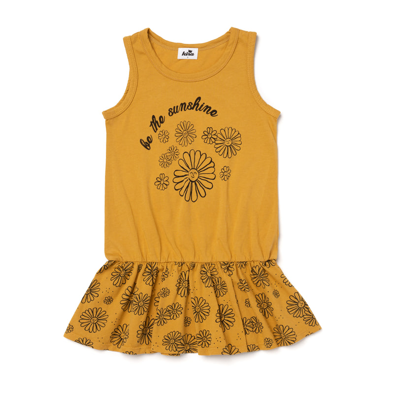 Daisies Sunshine Tank Ruffle Dress, Golden