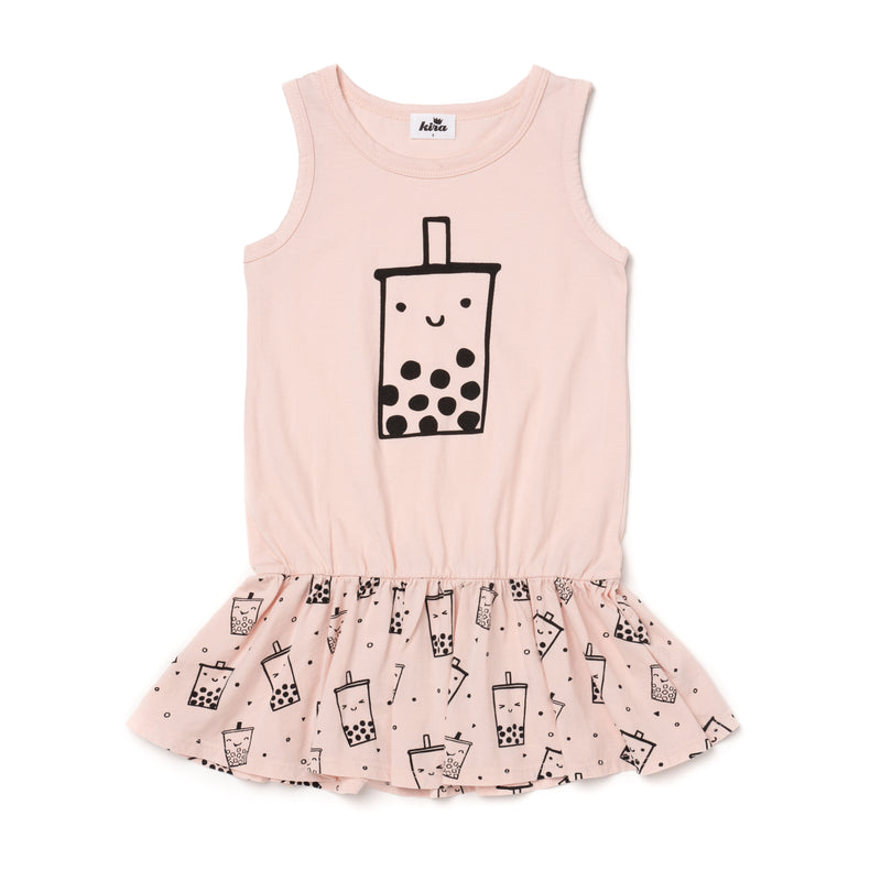 Boba Tank Ruffle Dress, Powder Pink