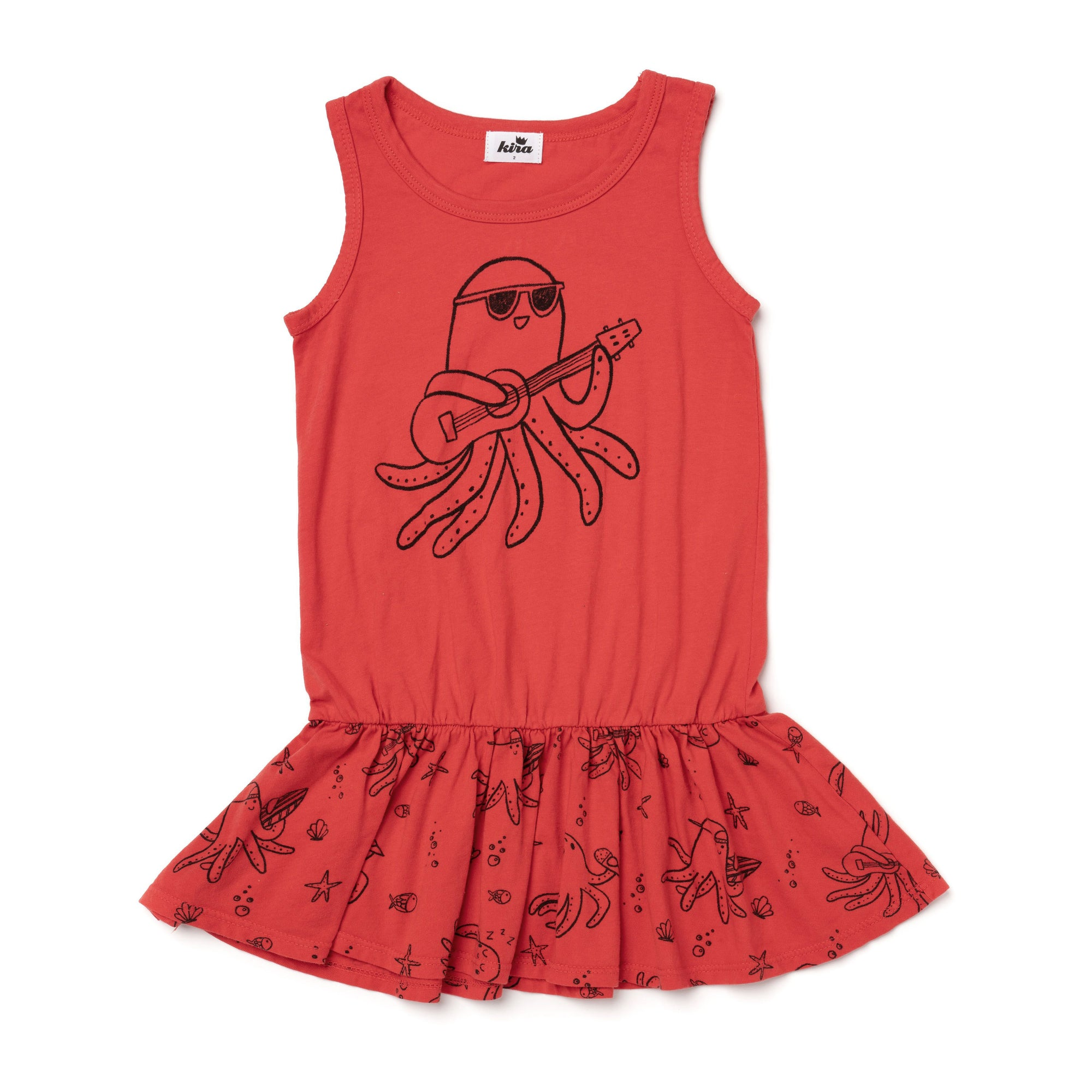 Ukulele Octopus Tank Ruffle Dress, Fluro Coral