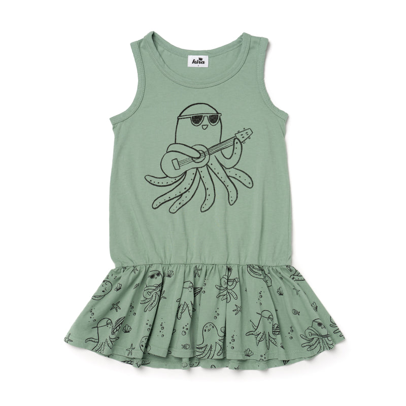 Ukulele Octopus Tank Ruffle Dress, Celadon