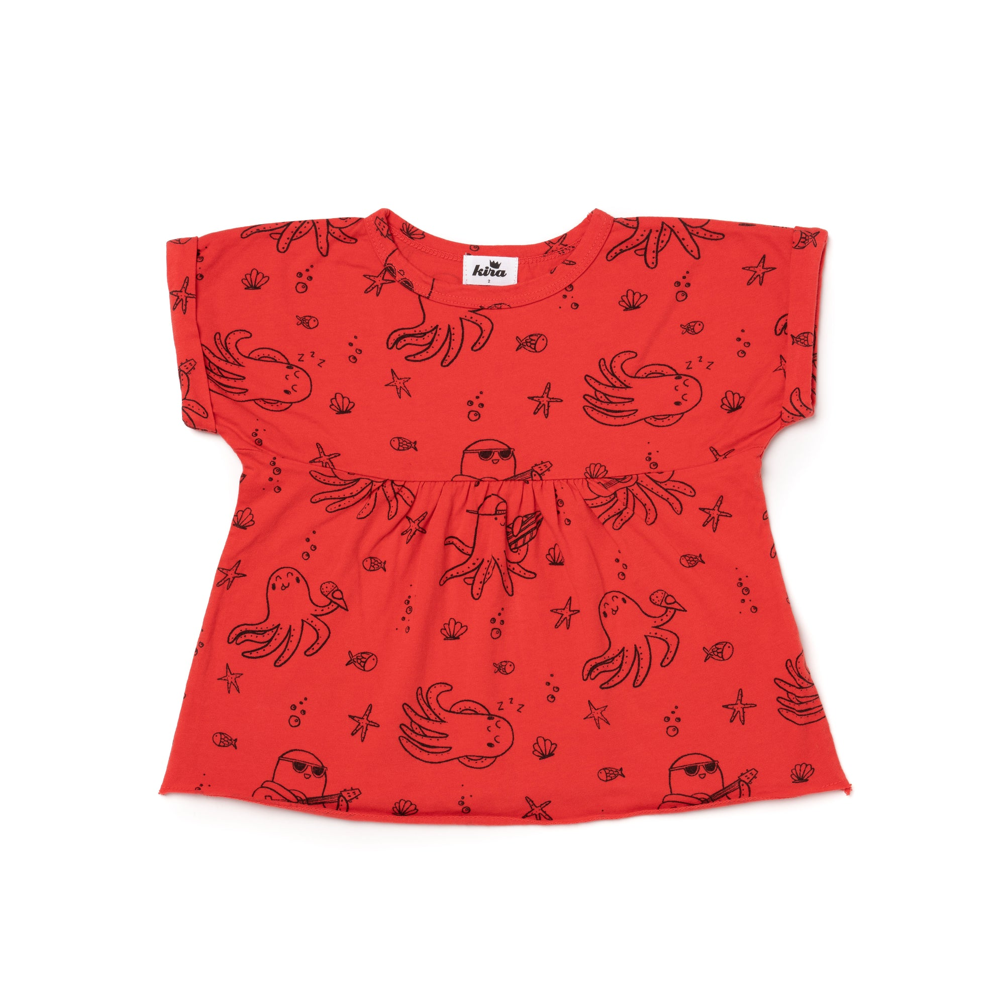 Octopus Print Boxy Top, Fluro Coral