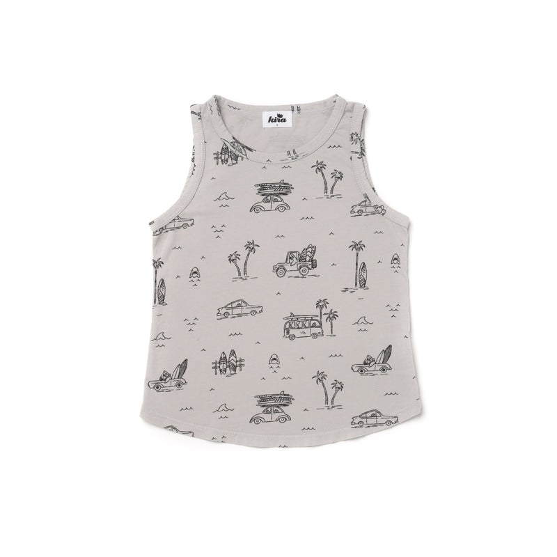 Surf Shark Print Unisex Tank, Light Grey