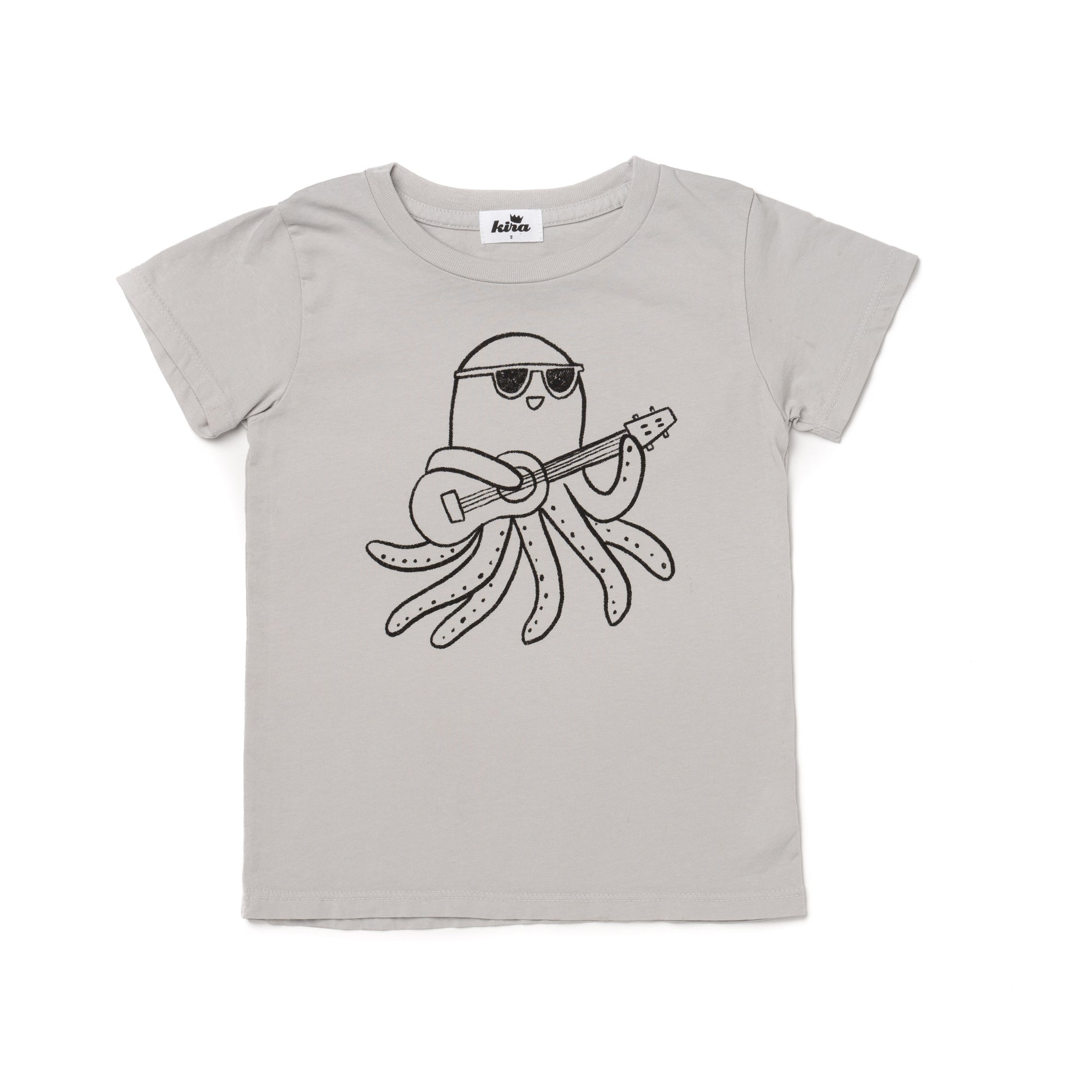 Ukulele Octopus Graphic Short Sleeve T-shirt, Light Grey