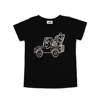 Shark Jeep Graphic Short Sleeve T-shirt, Black