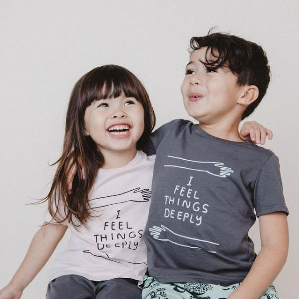 I Feel Things Deeply T-shirt, Slate Grey | Kids