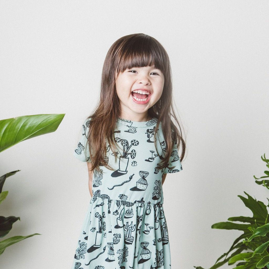 Plants Print Baby Doll Dress, Ocean Mint
