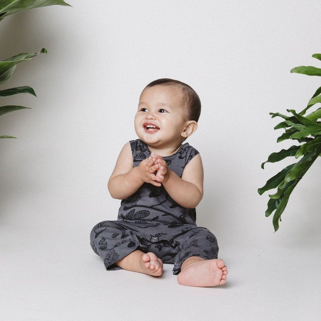 Plants Print Tank Jumpsuit, Slate Grey
