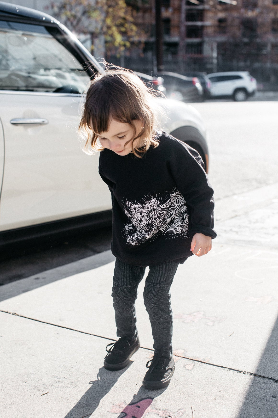 Kira x Coco, KID: Star Burst Graphic Raglan Sweatshirt, Black
