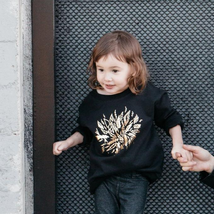 Kira x Coco Kids Golden Bolts Graphic Raglan Sweatshirt, Black