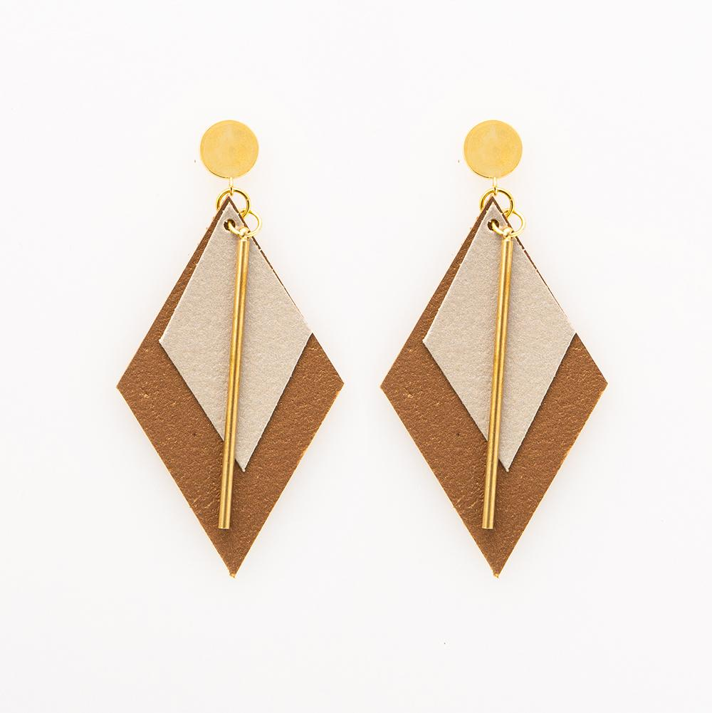 Ink + Alloy: Champagne and Bronze Double Diamond Leather Earrings