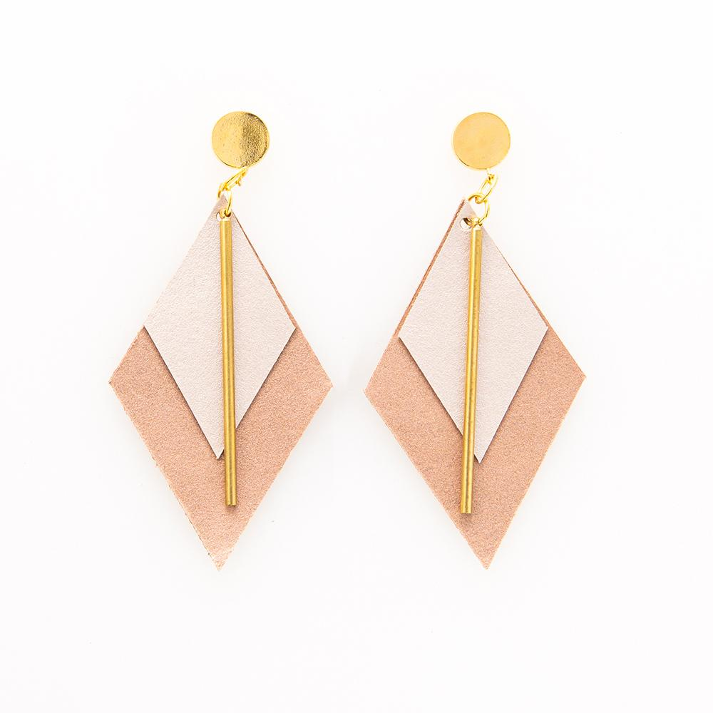 Ink + Alloy: Oyster and Rose Gold Double Diamond Leather Earrings