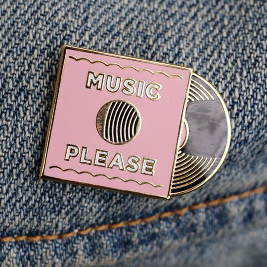 Paper Parasol Press: Pink Music Please Lapel Pin