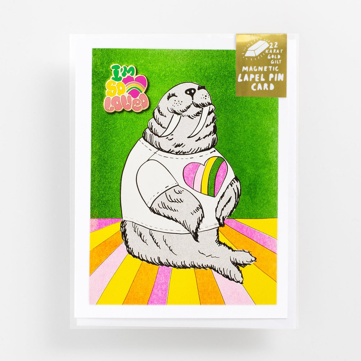 Yellow Owl Workshop: I'm So Loved Walrus- Lapel Pin Card