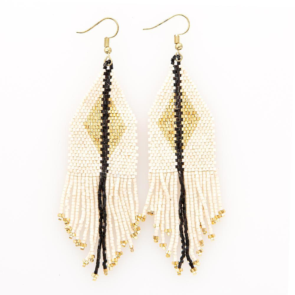 Ink + Alloy: Ivory With Gold Luxe Diamond With Fringe Earrings