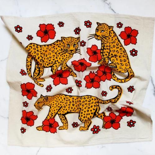 Calhoun & Co.: Leopards in Flower Patch Printed Tea Towel