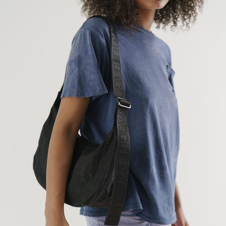 Baggu: Medium Nylon Crescent Bag - Black